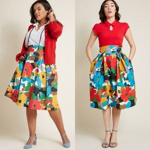 Modcloth Emily & Fin Floral A Line Midi Skirt NEW
